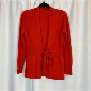 J. McLaughlin Orange Cashmere Cardigan Size Small